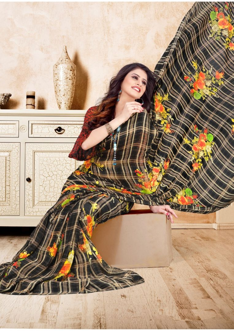 Black Color Georgette Floral Print Sarees NYF-3970 - YellowFashion.in