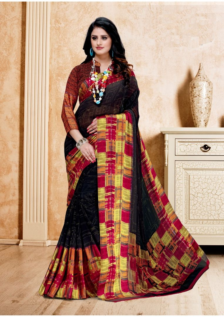 Black Color Chiffon Digital Print Sarees NYF-3972 - YellowFashion.in