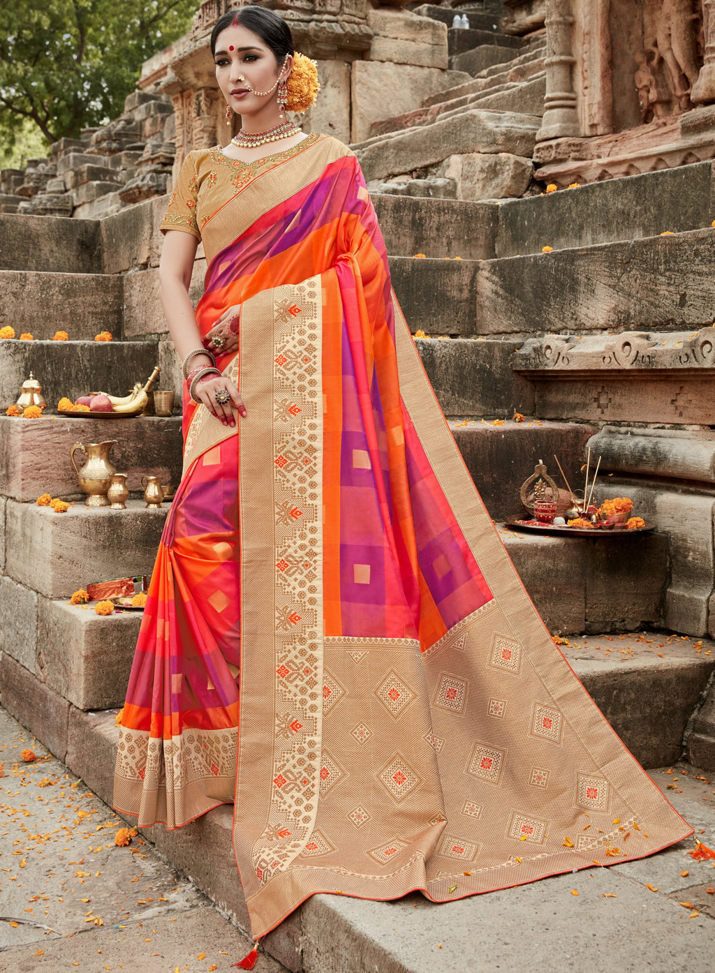 Orange & Purple Color Silk Checks Patten Designer Sarees NYF-4443
