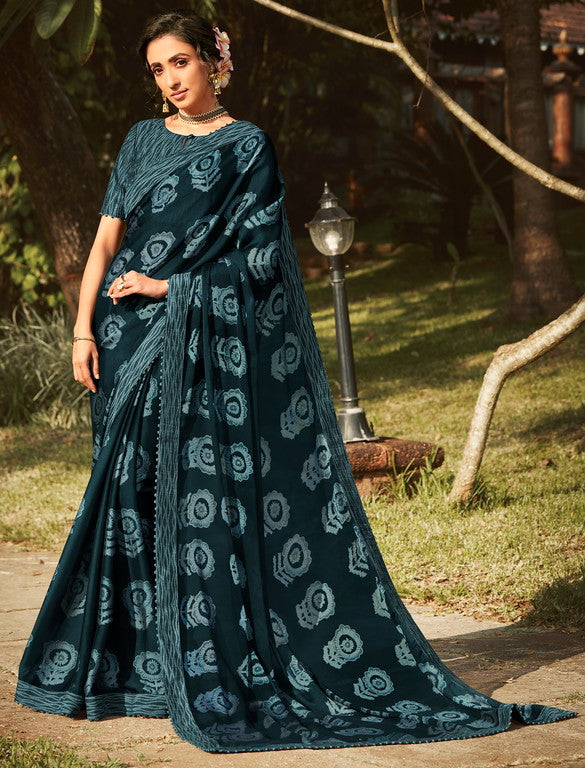 Greyish Black Color Georgette Silk   Party Wear Saree - Shipra Collection YF#10156