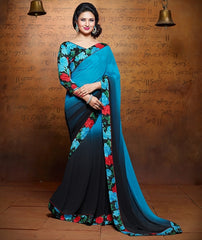 Blue & Black Color Georgette Party Wear Sarees : Kumkum Collection  YF-31983