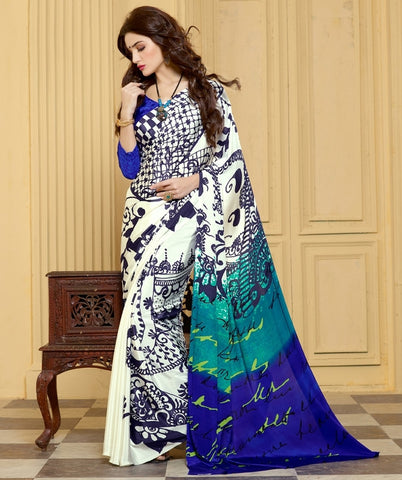 Off White & Blue Color Crepe Casual Party Sarees : Akushna Collection  YF-36748