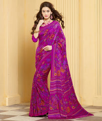 Rani Pink Color Crepe Casual Party Sarees : Akushna Collection  YF-36753