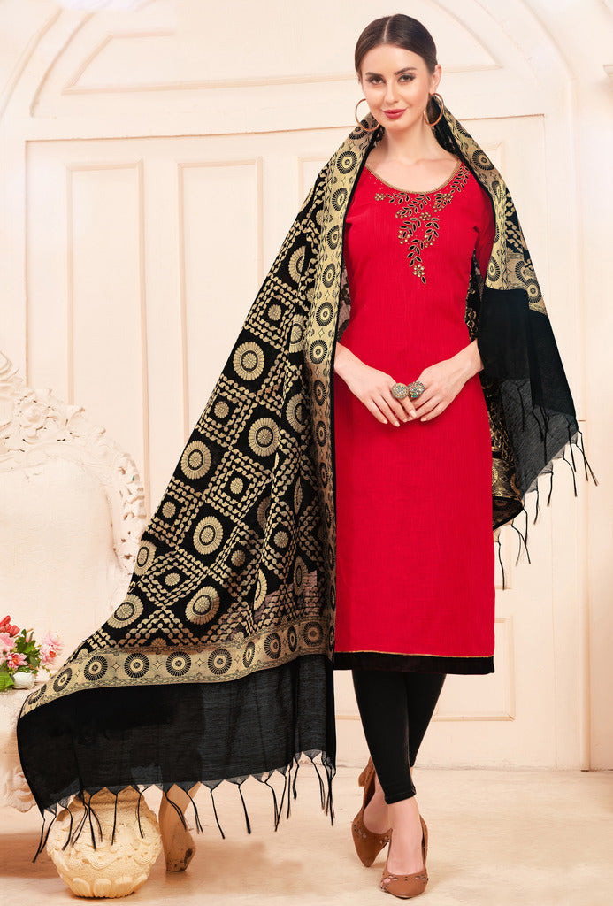 Red Color Slub Cotton Readymade Unstitched Suits : Vasuki Collection NYF-1988 - YellowFashion.in