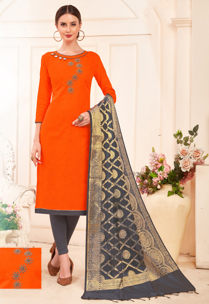 Orange Color Slub Cotton Readymade Unstitched Suits : Vasuki Collection NYF-1990 - YellowFashion.in