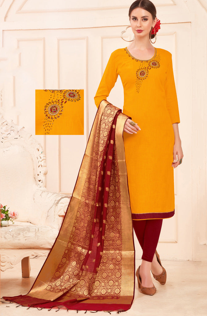 Yellow Color Slub Cotton Readymade Unstitched Suits : Vasuki Collection NYF-1991 - YellowFashion.in