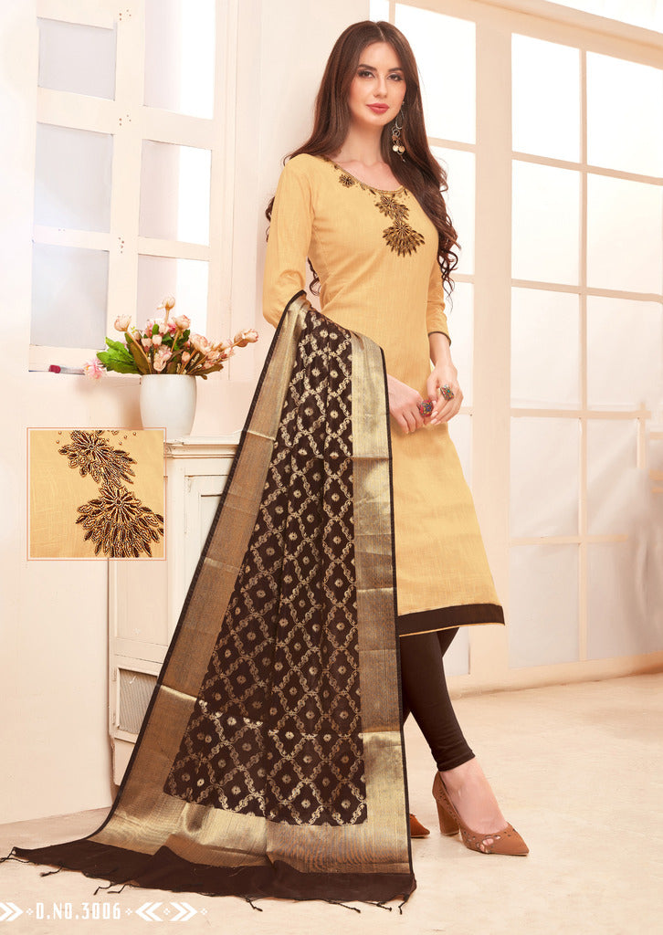 Cream Color Slub Cotton Readymade Unstitched Suits : Vasuki Collection NYF-1993 - YellowFashion.in