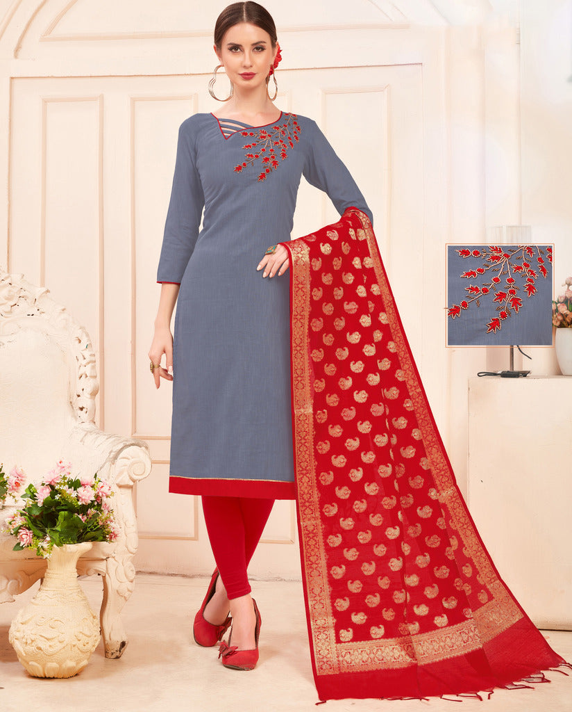 Grey Color Slub Cotton Readymade Unstitched Suits : Vasuki Collection NYF-1994 - YellowFashion.in