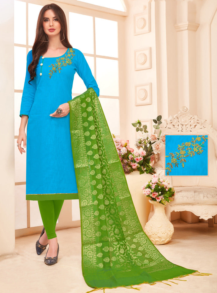 Firozi Color Slub Cotton Readymade Unstitched Suits : Vasuki Collection NYF-1996 - YellowFashion.in