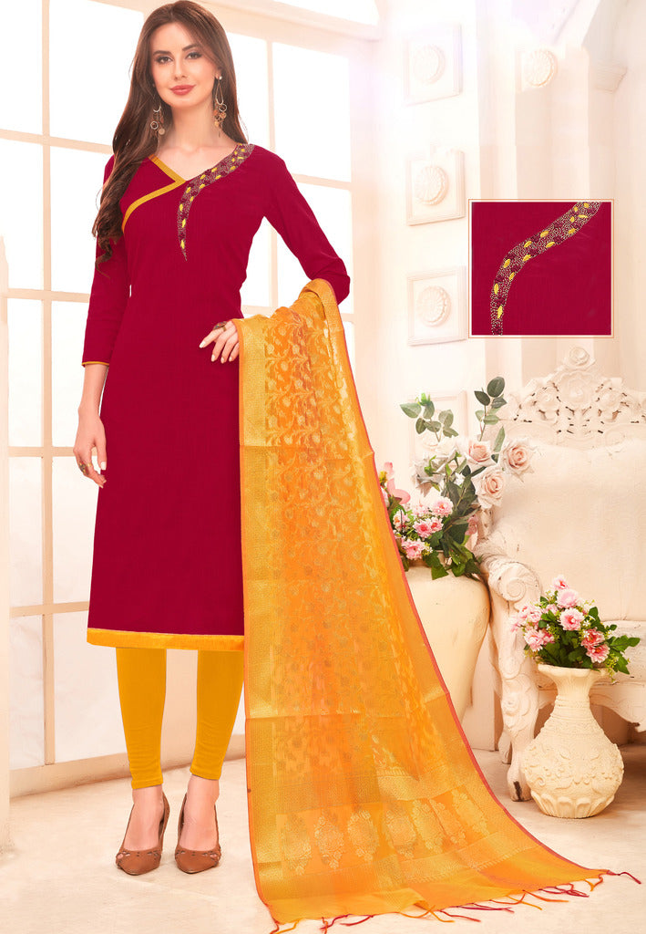 Maroon Color Slub Cotton Readymade Unstitched Suits : Vasuki Collection NYF-1997 - YellowFashion.in