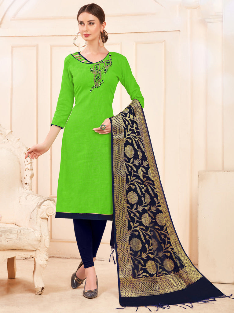 Parrot Green Color Slub Cotton Readymade Unstitched Suits : Vasuki Collection NYF-1998 - YellowFashion.in