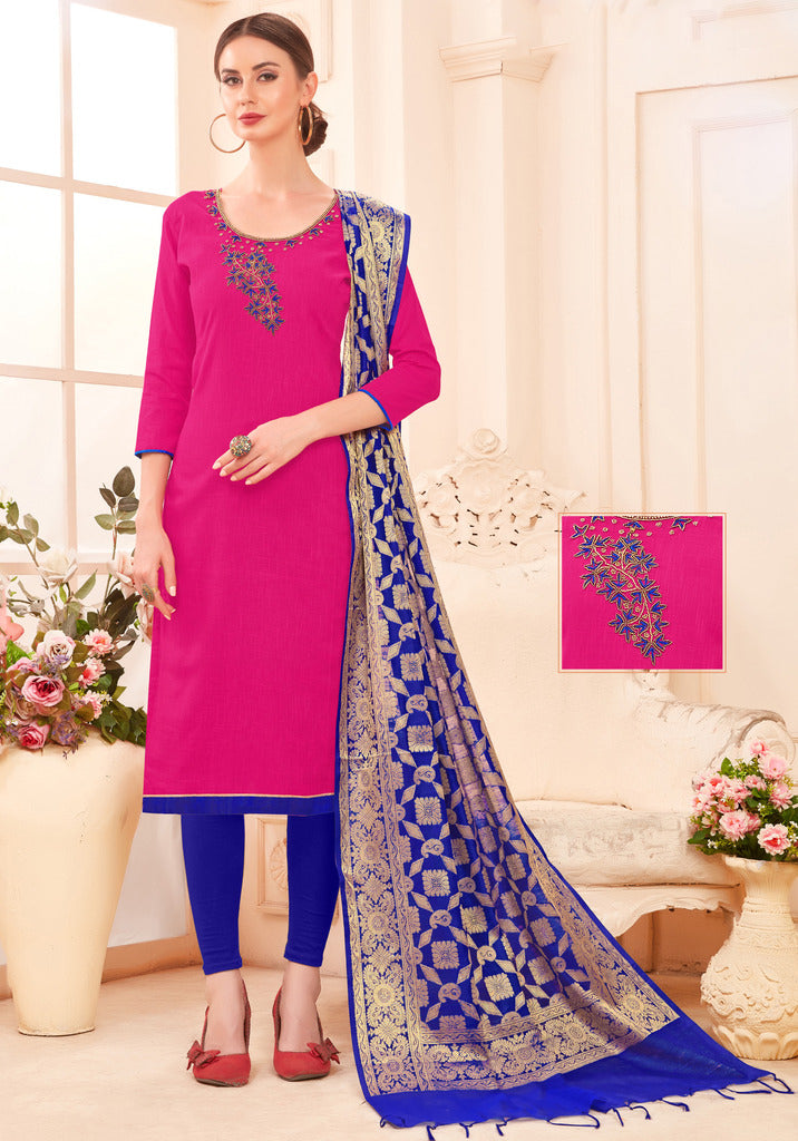 Pink Color Slub Cotton Readymade Unstitched Suits : Vasuki Collection NYF-1999 - YellowFashion.in