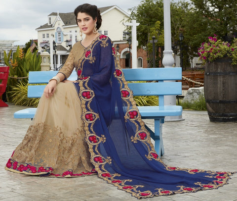 Light Coffee & Blue Color Half Net & Half Wrinkle Chiffon Wedding Function Sarees : Rainita Collection  YF-47309