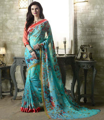 Firozi Color Georgette Kitty Party Sarees : Tarita Collection  YF-50903