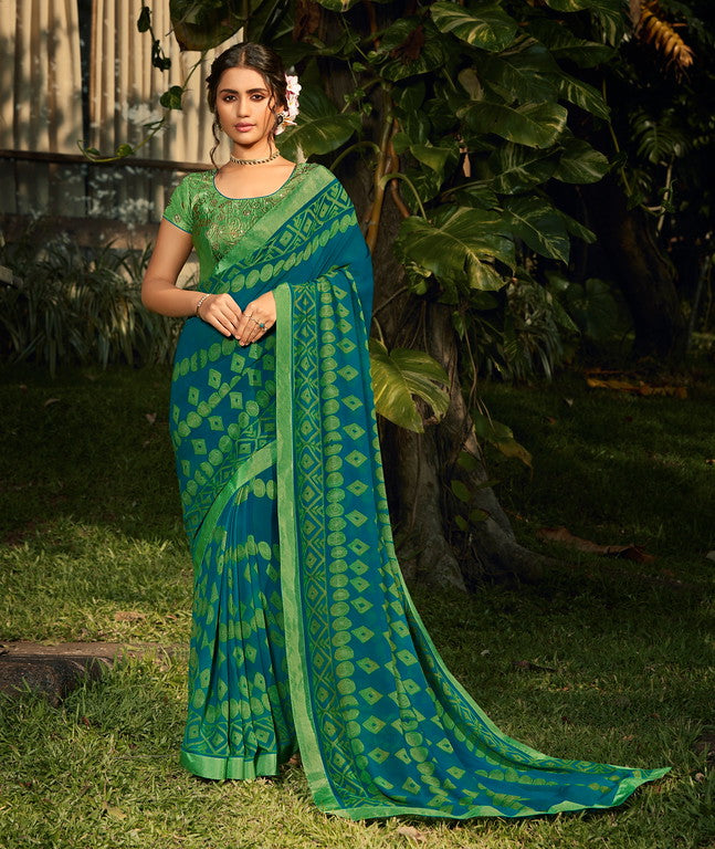 Green and Blue Color Georgette  Party Wear Saree -Pritush Collection YF#10163
