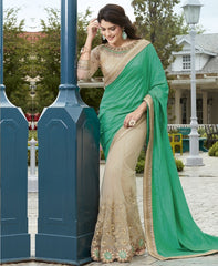 Cream & Green Color Half Net & Half Wrinkle Chiffon Wedding Function Sarees : Rainita Collection  YF-47311