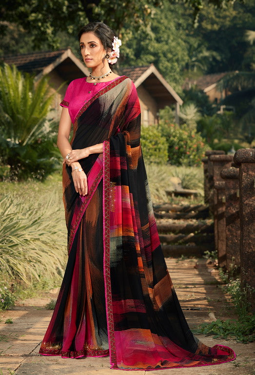 Black and Pink Color Georgette  Party Wear Saree -Pritush Collection YF#10164