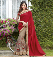 Cream & Red Color Half Net & Half Georgette Wedding Function Sarees : Rainita Collection  YF-47312