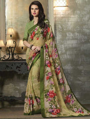 Light Mehendi Green Color Georgette Kitty Party Sarees : Tarita Collection  YF-50905