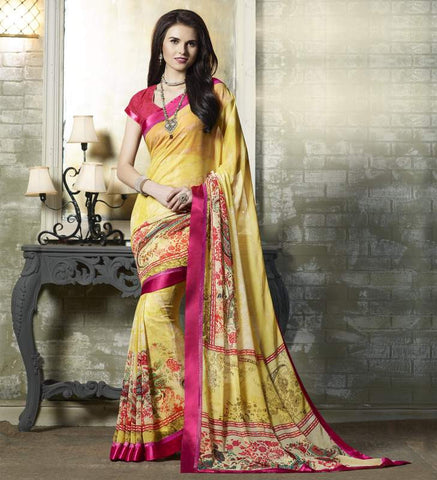 Yellow Color Georgette Kitty Party Sarees : Tarita Collection  YF-50906