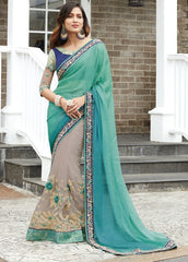 Cream & Green Color Half Net & Half Wrinkle Chiffon Wedding Function Sarees : Rainita Collection  YF-47313