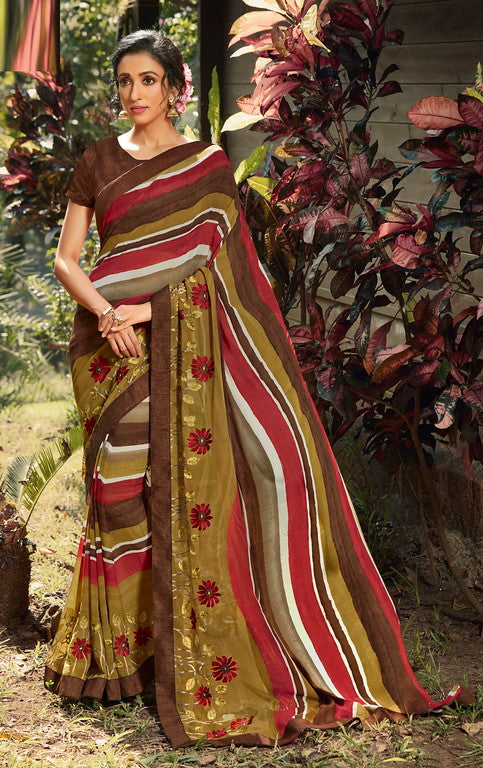 Brown and Mehendi GreenColor Georgette  Party Wear Saree -Pritush Collection YF#10167