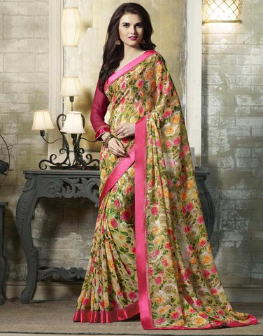 Pastel Green & Pink Color Georgette Kitty Party Sarees : Tarita Collection  YF-50908