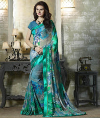 Blue & Green Color Georgette Kitty Party Sarees : Tarita Collection  YF-50909
