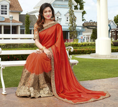 Saffron Color Half Net & Half Wrinkle Chiffon Wedding Function Sarees : Rainita Collection  YF-47316