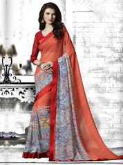 Orange Color Georgette Kitty Party Sarees : Tarita Collection  YF-50910