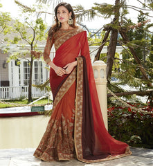 Orange & Brown Color Half Net & Half Georgette Wedding Function Sarees : Rainita Collection  YF-47319
