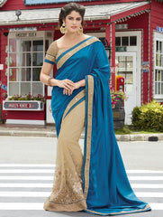 Blue & Cream Color Half Net & Half Raw Silk Wedding Function Sarees : Rainita Collection  YF-47321