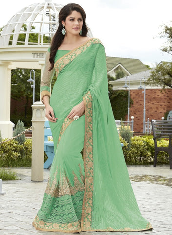 Pearl Green Color Half Net & Half Wrinkle Chiffon Wedding Function Sarees : Rainita Collection  YF-47323