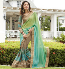 Shades Of Green & Brown Color Wrinkle Chiffon Wedding Function Sarees : Rainita Collection  YF-47329