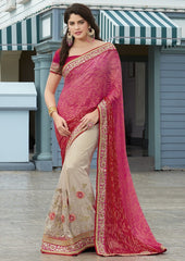 Off White & Pink Color Half Net & Half Wrinkle Chiffon Wedding Function Sarees : Rainita Collection  YF-47331