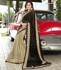 Black & Light Golden Color Half Wrinkle Chiffon & Half Shimmer Georgette Foil Wedding Function Sarees : Rainita Collection  YF-47332