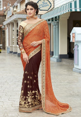 Orange & Brown Color Half Wrinkle Brasso & Half Net Wedding Function Sarees : Rainita Collection  YF-47335