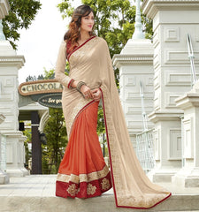 Orange Color Half Wrinkle Chiffon & Half Shimmer Georgette Foil Wedding Function Sarees : Rainita Collection  YF-47336