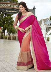 Pink & Orange Color Wrinkle Chiffon Wedding Function Sarees : Rainita Collection  YF-47337