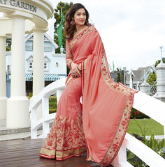 Peach Color Half Net & Half Fancy Material Wedding Function Sarees : Rainita Collection  YF-47338