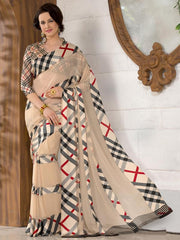 Light Coffee & Grey Color Georgette Casual Wear Sarees : Madhulika Collection  YF-50347