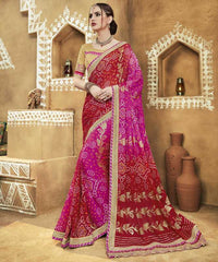 Red & Pink Color Georgette Bandhej Festive Wear Sarees : Romina Collection  YF-50938
