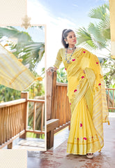 Yellow & Orange Color Wrinkle Chiffon Party Wear Sarees : Vitika Collection  YF-47341