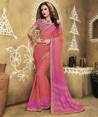 Peach & Pink Color Georgette Bandhej Festive Wear Sarees : Romina Collection  YF-50939