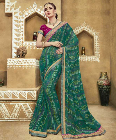 Green Color Georgette Bandhej Festive Wear Sarees : Romina Collection  YF-50940