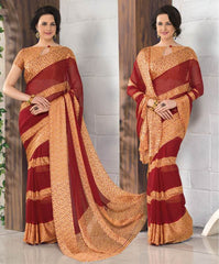 Red Color Georgette Casual Wear Sarees : Madhulika Collection  YF-50351