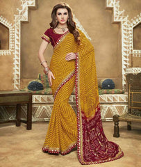 Yellow & Maroon Color Georgette Bandhej Festive Wear Sarees : Romina Collection  YF-50941