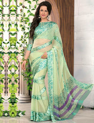 Pastel Green Color Georgette Casual Wear Sarees : Madhulika Collection  YF-50352