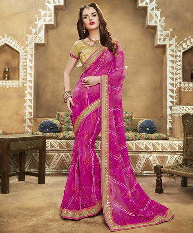 Pink Color Georgette Bandhej Festive Wear Sarees : Romina Collection  YF-50942