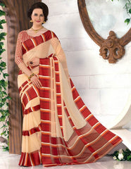 Cream & Red Color Georgette Casual Wear Sarees : Madhulika Collection  YF-50353